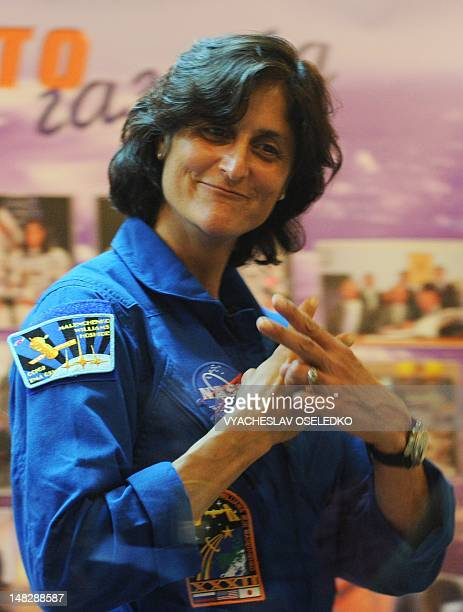 US astronaut Sunita Williams attends a press conference at Baikonur cosmodrome on July 13 2012 The International Space Station crew is due to blast...