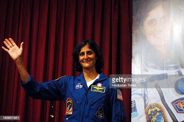 Astronaut Sunita Williams during her visit to Nehru Science Centre to meet with students and Media Interaction on April 4 2013 in Mumbai India