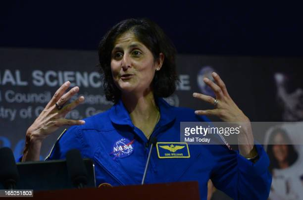 Astronaut Sunita Williams interacting with students and teachers at the National Science Centre in New Delhi on Monday