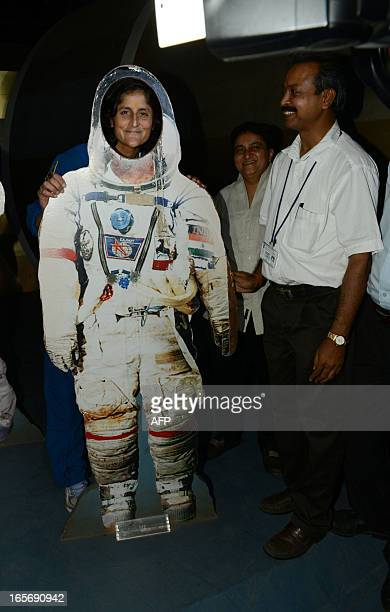 US astronaut Sunita Williams poses for a photo during her visit at the Gujarat Science City on the outskirts of Ahmedabad on April 5 2013 Williams...