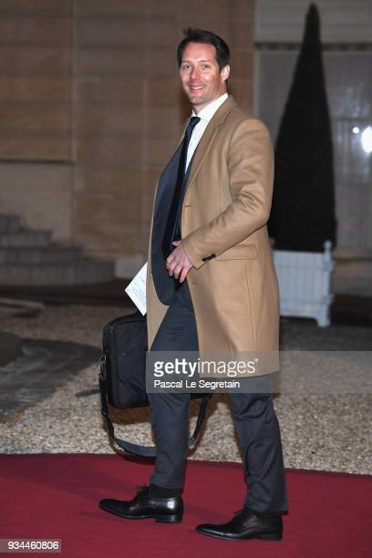 Astronaut Thomas Pesquet attends a State dinner hosted by French President Emmanuel Macron and Brigitte Macron at the Elysee Palace on March 19 2018...