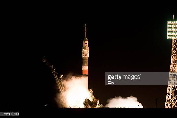 ESA astronaut Thomas Pesquet NASA astronaut Peggy Whitson and Roscosmos commander Oleg Novitsky were launched to the International Space Station on...