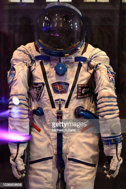 Astronaut Tim Peake's space suit on display in Peterborough Cathedral United Kingdom 7th September 2018 The suit was used in his mission to the...