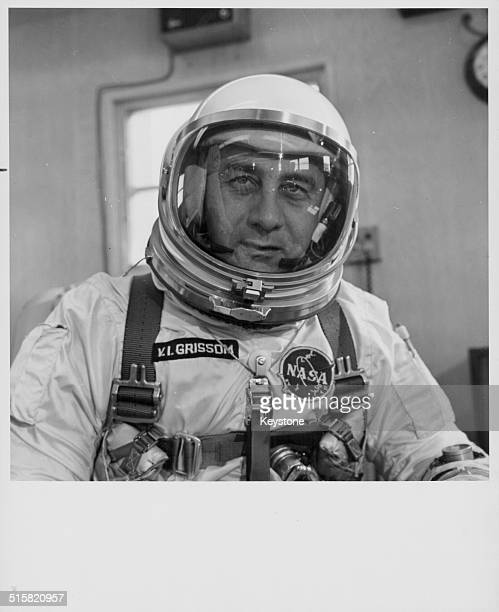 Astronaut Virgil L Grissom part of the Apollo 1 crew and one of the Mercury Seven wearing is space suit at NASA Cape Kennedy Florida March 17th 1965