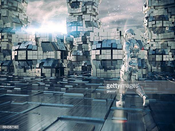 Astronaut walking in alien futuristic city