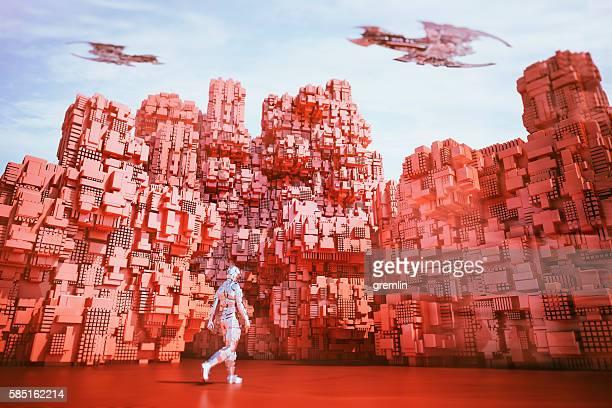Astronaut walking in futuristic alien city