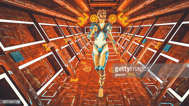 Astronaut walking in the spaceship
