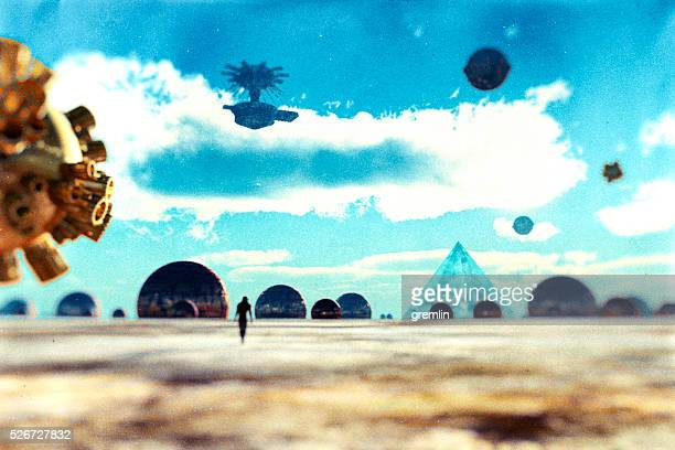 Astronaut walking on distant planet