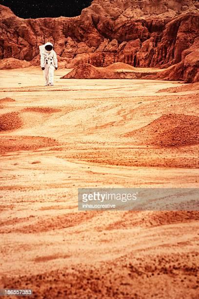 Astronauta pasos de Mars o la luna