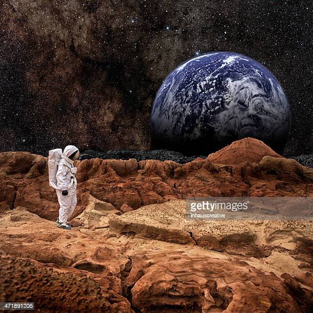 astronaut walking on mars or the moon - mars stock pictures, royalty-free photos & images