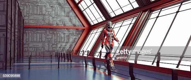 Astronauta caminar, nave espacial, espacio de viajes