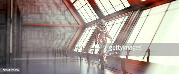 Astronaut walking, spaceship, space travel