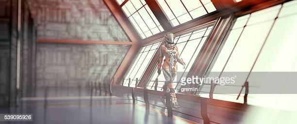 宇宙飛行士のウォーキング、宇宙船、宇宙旅行
