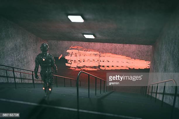 Astronaut walking towards UFO