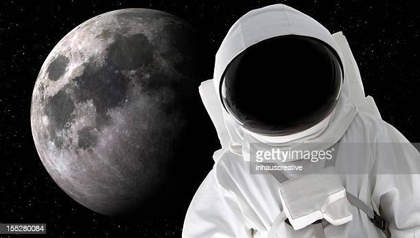 Astronaut with moon in background