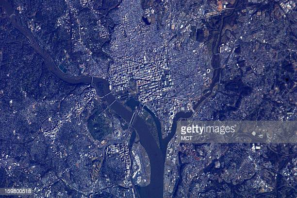 Astronauts aboard the International Space Station captured this detailed view of Washington DC The image shows the Potomac River and its bridges at...