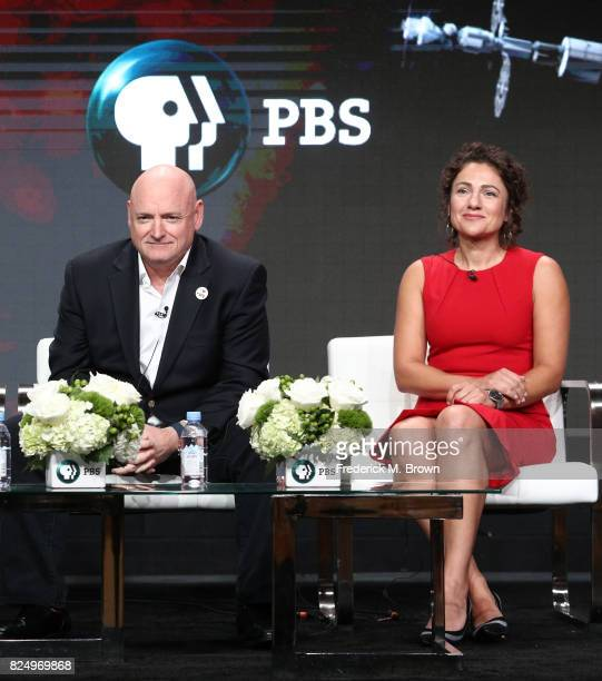 Astronauts Capt Scott Kelly and Jessica Meir of 'Beyond a Year in Space' speak onstage during the PBS portion of the 2017 Summer Television Critics...