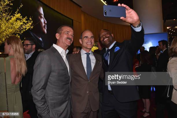 Astronauts Chris Hadfield and Leland D Melvin pose with actor Michael Kelly at National Geographic's Further Front Event at Jazz at Lincoln Center on...