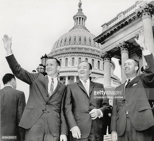 Astronauts Edward White II and James McDivitt with US Vice President Hubert Humphrey on Steps of Capitol Building Washington DC USA 1965