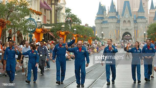 Astronauts from space shuttle mission STS118 mission specialists Alvin Drew Jr Barbara Morgan Canadian Space Agency astronaut Dave Williams commander...