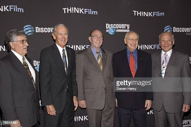 Astronauts Harrison Schmitt Charlie Duke Edgar Mitchell Alan Bean and Buzz Aldrin attend the premiere of 'In The Shadow Of The Moon' on September 5...