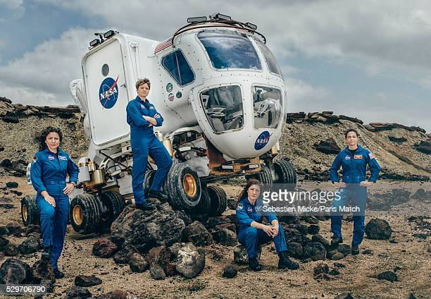 NASA astronauts Jessica Meir Anne McClain Nicole Mann and Christina Koch who have been selected for a manned mission to Mars are photographed for...