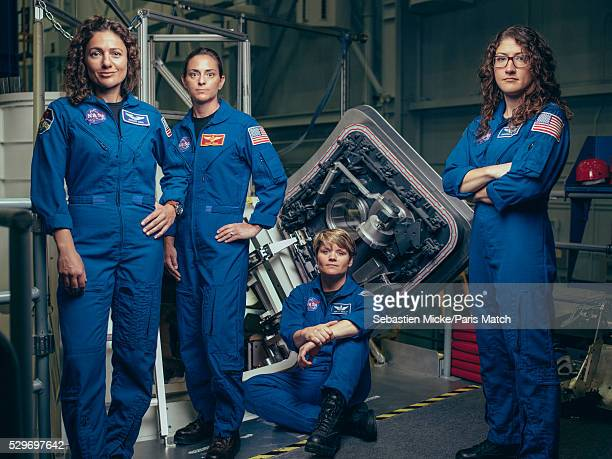 NASA astronauts Jessica Meir Nicole Mann Anne McClain and Christina Koch who have been selected for a manned mission to Mars are photographed for...