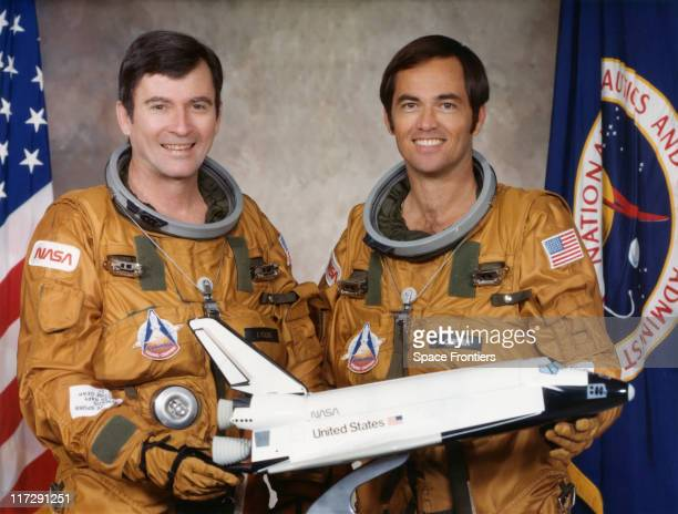 NASA astronauts John Watts Young and Robert Laurel Crippen the crew of the STS1 mission on the space shuttle Columbia 29th April 1979 They are...