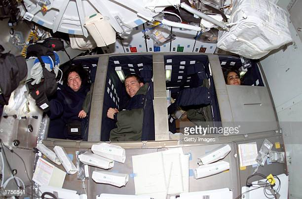 Astronauts Laurel B Clark Rick D Husband and Kalpana Chawla Space Shuttle Columbia STS107 mission specialist mission commander and mission specialist...