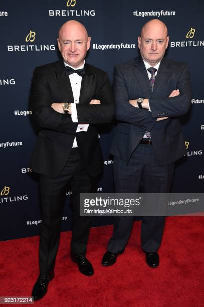 Astronauts Mark Kelly with Scott Kelly on the red carpet at the #LEGENDARYFUTURE Roadshow 2018 New York on February 22 2018
