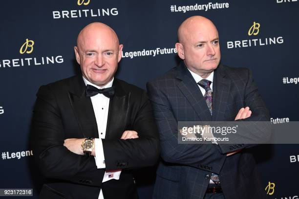 "Astronauts Mark Kelly with Scott Kelly on the red carpet at the ""#LEGENDARYFUTURE"" Roadshow 2018 New York on February 22, 2018."