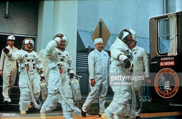Astronauts Pete Conrad Richard F Gordon Jnr and Alan L Bean of the US Navy manned the Apollo XII mission to the moon