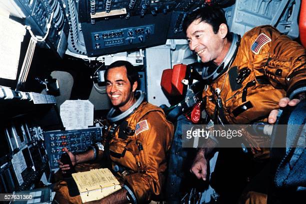 US Astronauts Robert Crippen and John Young are seen in the flight deck of Columbia of the space shuttle Columbia before the first shuttle flight at...