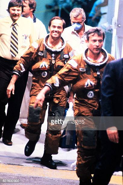 US Astronauts Robert Crippen and John Young prepare to board the space shuttle Columbia before the first shuttle flight at Kennedy Space Center in...