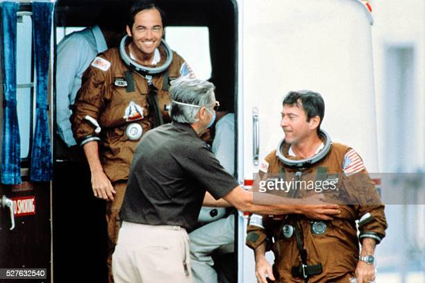 US Astronauts Robert Crippen and John Young smile as they return after the first Columbia Space Shuttle flight at Edwards Air Force Base in...