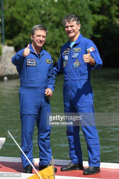 Astronauts Roberto Vittori and Paolo Nespoli are seen during the 75th Venice Film Festival on September 6, 2018 in Venice, Italy.