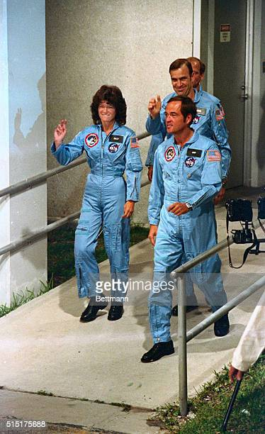 Astronauts Sally Ride Robert Crippen John Fabian and Norman Thagard of the STS7 head down the ramp during launch preparations for the Space Shuttle...