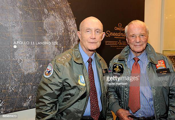 Astronauts Thomas P Stafford and Scott Carpenter pose at Omega Celebrates The 40th Anniversary of The Apollo Moon Landing at South Coast Plaza on...