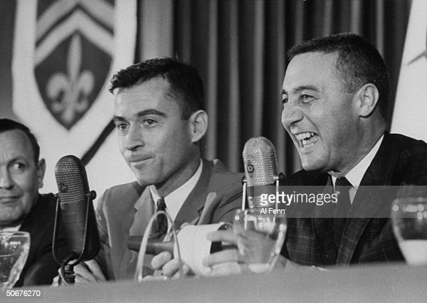 Astronauts Virgil I Grissom and John W Young during press conference