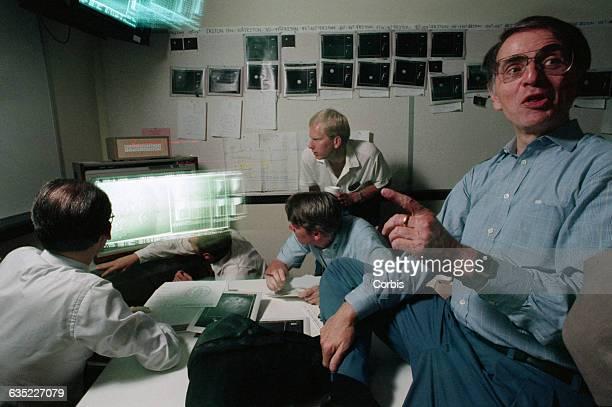 Astronomer Carl Sagan at NASA's Jet Propulsion Laboratory during Voyager 2's encounter with Neptune's moon Triton   Location near Pasadena California...