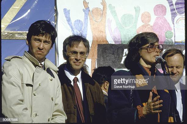 Astronomer Dr Carl Sagan and Representative Patricia Shroeder taking part in a demonstration against the first US nuclear explosion of the year