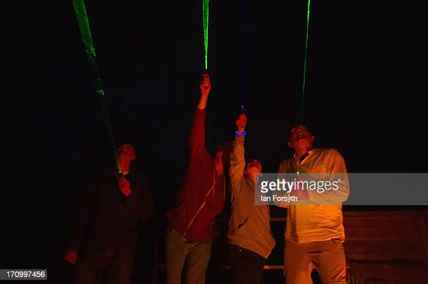 Astronomers at Kielder Observatory use laser pens to indicate some of the stars that are visible on the morning of the Summer Solstice on June 21...