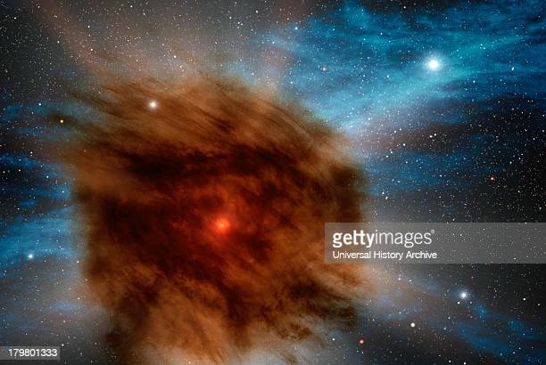 Astronomers have discovered a giant supernova that is smothered in its own dust In this artist's rendering an outer shell of gas and dust which...