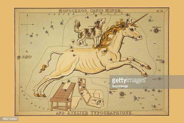 Astronomical chart showing a unicorn a dog and printing apparatus forming the constellations