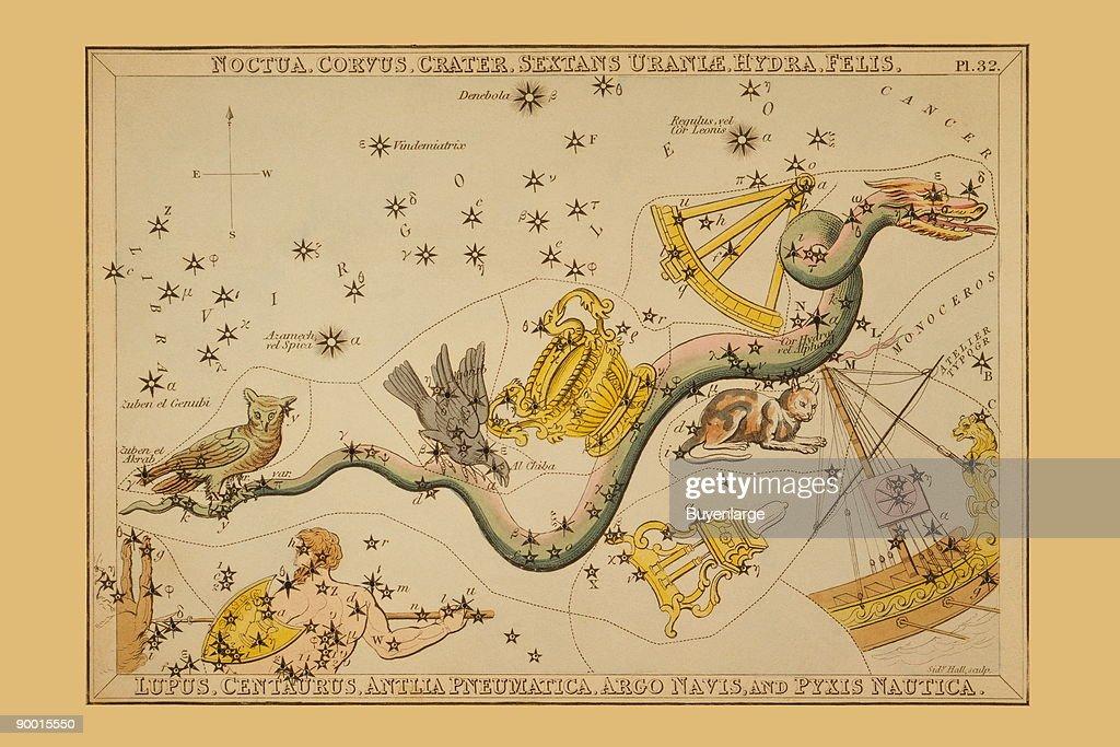 Noctua, Corvus, Crater, Sextans Uraniæ, Hydra, Felis, Lupus, Centaurus, Antlia Pneumatica, Argo Navis, and Pyxis Nautica  : News Photo
