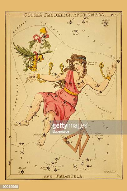 Astronomical chart showing Andromeda in chains two triangles and a scepter with eagle's head and palm frond forming the constellations