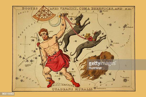 Astronomical chart showing Bootes the Ploughman holding a spear a sickle and two dogs Asterion and Chara on leash also showing a quadrant and the...