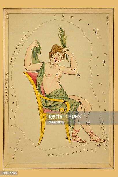 Astronomical chart showing Cassiopeia seated in a chair forming the constellation