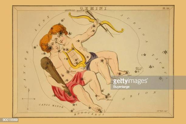 Astronomical chart showing the twins Castor and Pollux forming the constellation