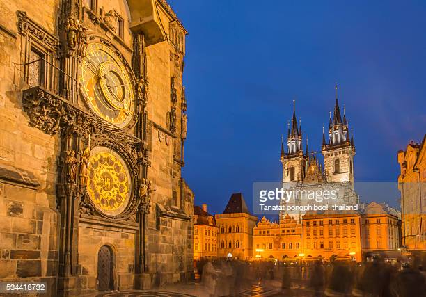 astronomical clock and old town hall at night, prague. - astronomical clock prague stock pictures, royalty-free photos & images